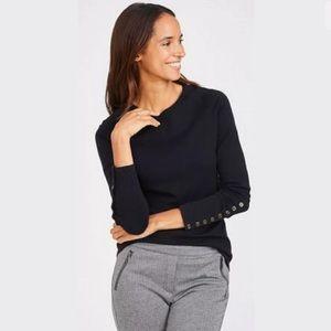 J. McLaughlin Black Jamey Button Cuff Sweater M
